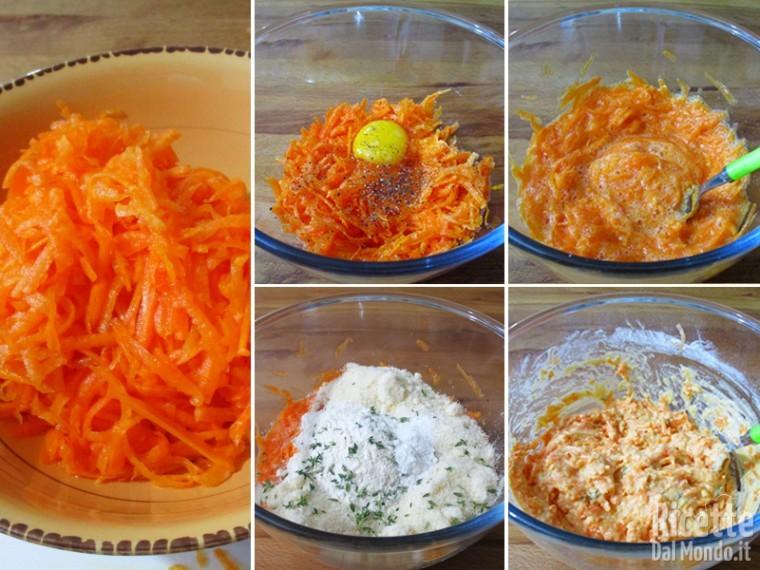 Preparare la pastella con la zucca grattugiata