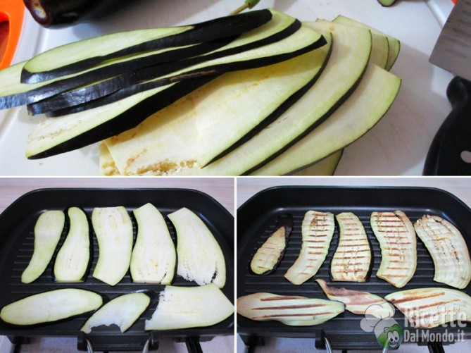 Affettate e grigliate le melanzane