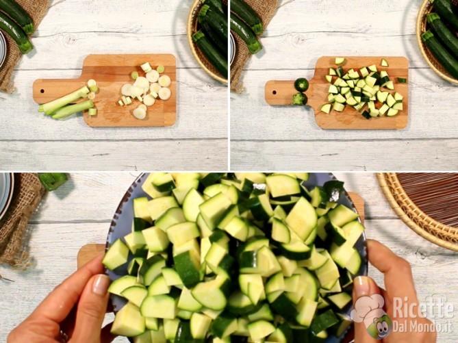 Tagliare cipollotti e zucchine