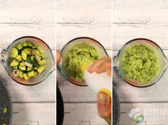 Frullare le zucchine per ottenere una crema