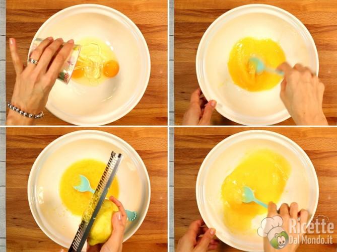 Lavorare uova, olio e scorza di limone