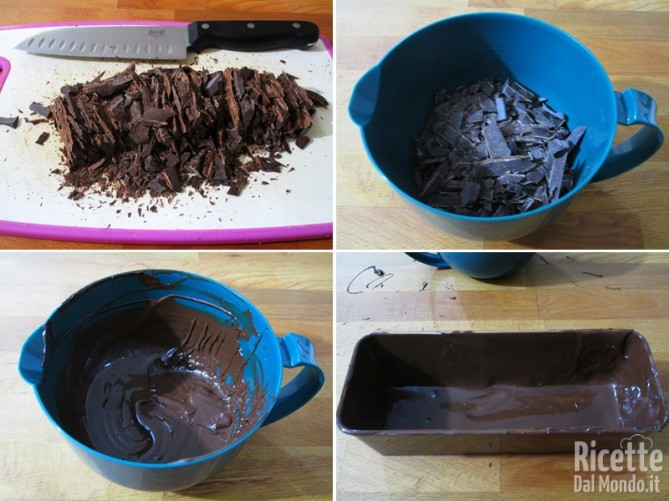 Rivestire lo stampo con il cioccolato fondente