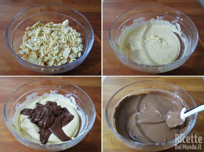 Mescolare cioccolato bianco e Nutella