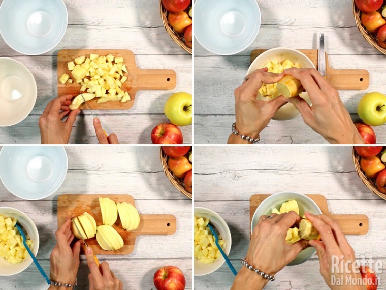 Sbucciate e tagliare le mele