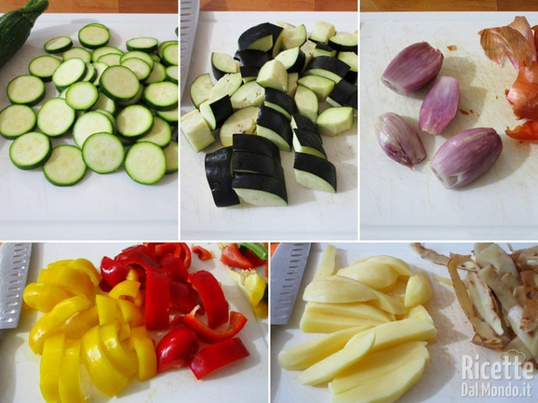 Pulire e tagliare le verdure
