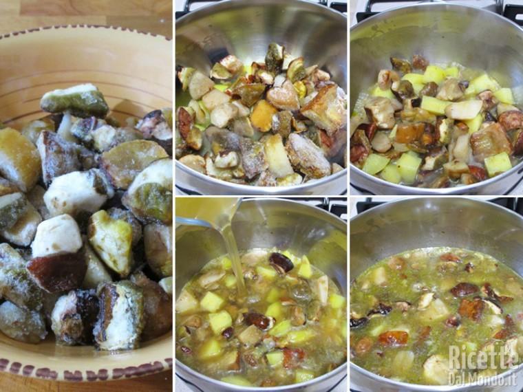 Cuocere patate e porcini con il brodo