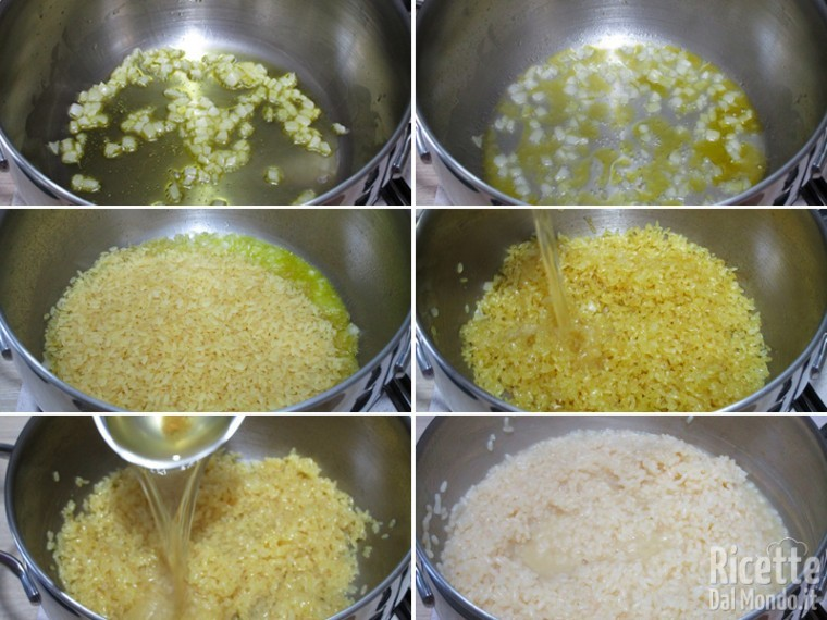 Cuocere il risotto con il brodo