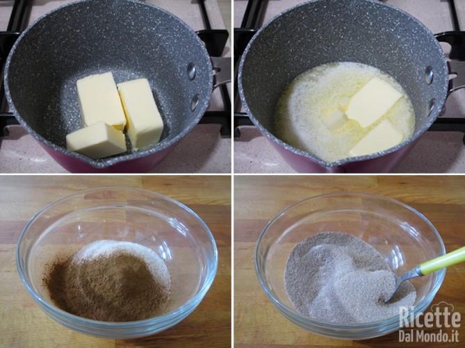 Fondere il burro e aromatizzare lo zucchero