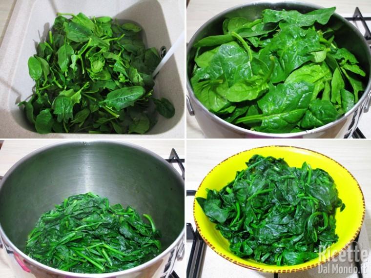 Lavare e cuocere gli spinaci