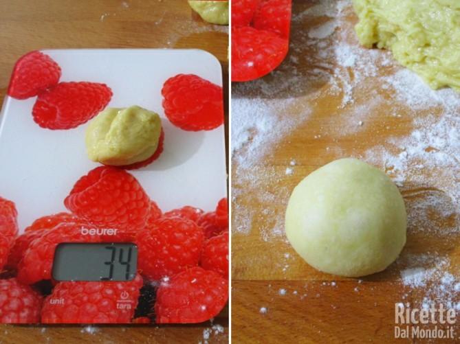 Staccare dei pezzi di circa 35gr e formare le palline
