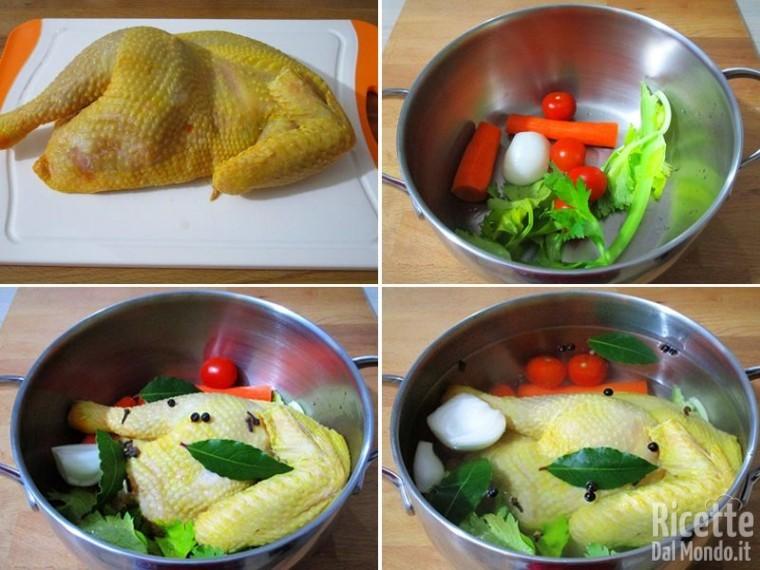 Preparare carne e verdure per il brodo