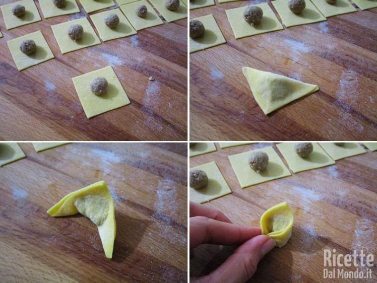 Stendere la pasta, ritagliare i quadrati e farcire i cappelletti