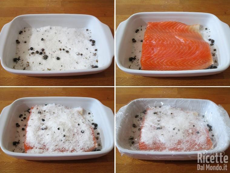 Marinare il salmone e lasciarlo in frigorifero
