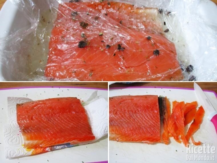 Il salmone è pronto, tagliarlo a fettine