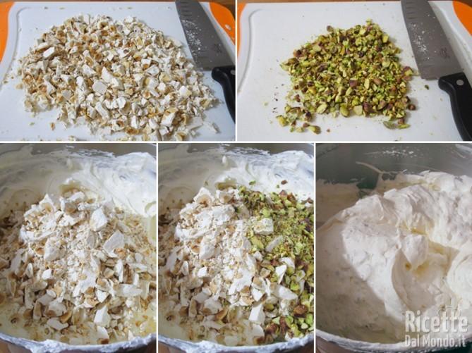 Unire torrone e pistacchi tritati