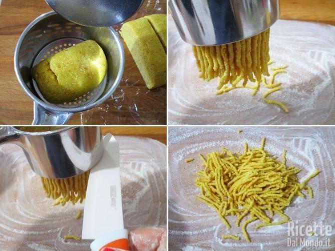 Sagomare i passatelli con il ferro o lo schiacciapatate