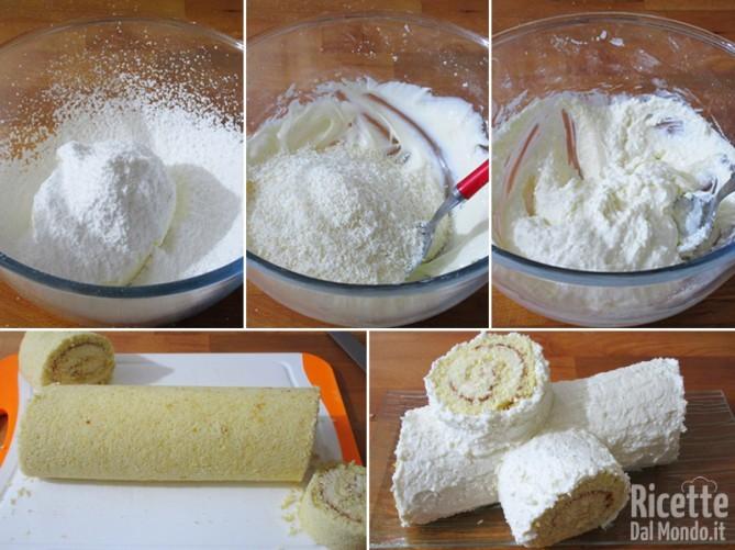 Rivestire il rotolo con la crema al formaggio e cocco