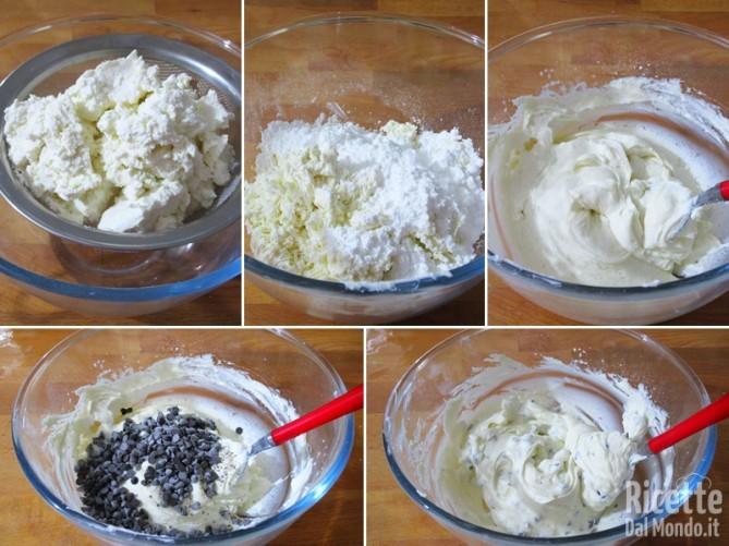 Preparare la crema di ricotta e gocce di cioccolato