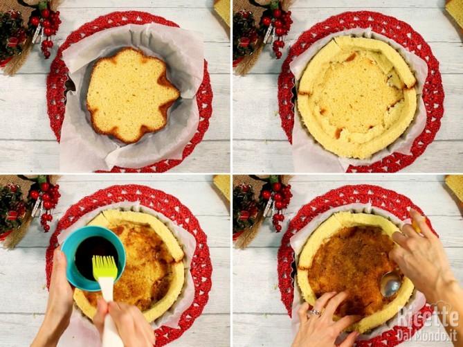 Preparare la base di pandoro e bagnarla con il caffè