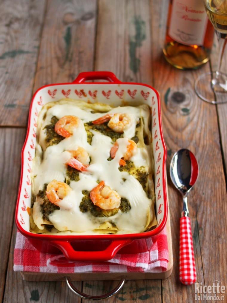 Ricetta lasagne pesto e gamberi