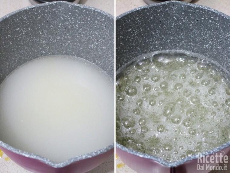Preparare lo sciroppo di acqua e zucchero