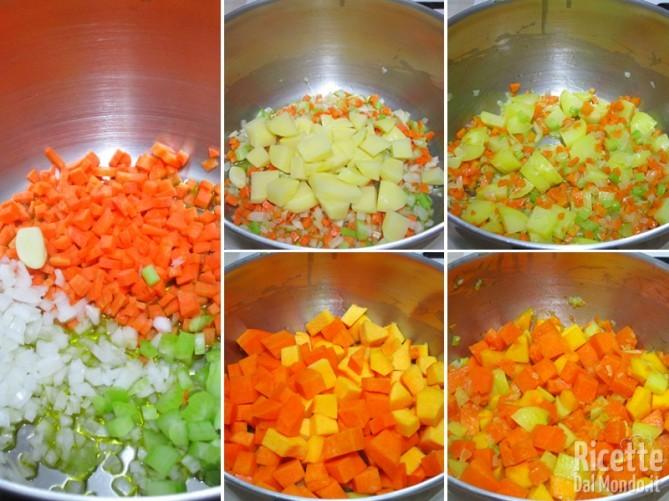 Rosolare le verdure, patate e zucca