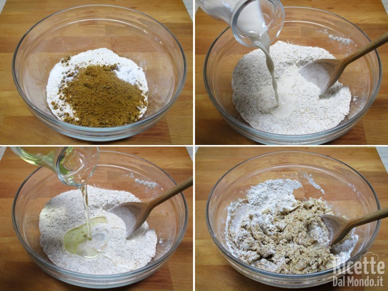 Mescolare gli ingredienti secchi e aggiungere i liquidi