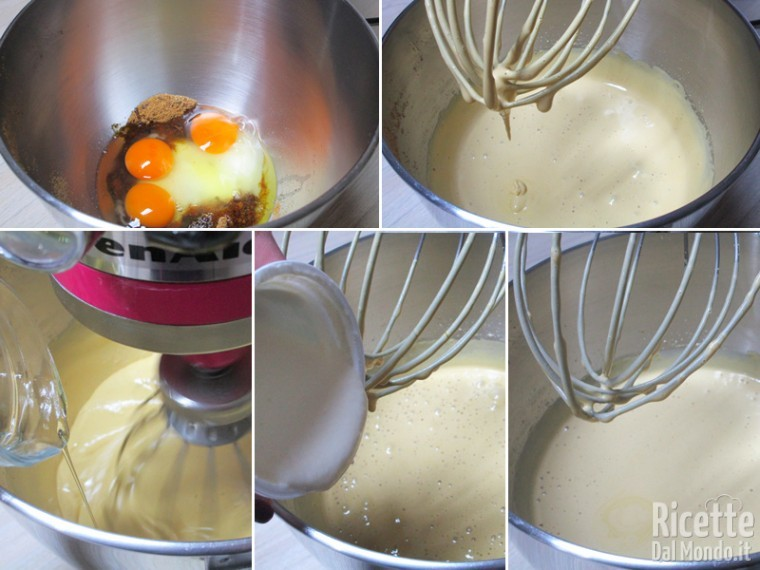 Montare uova e zucchero, poi unire olio e yogurt