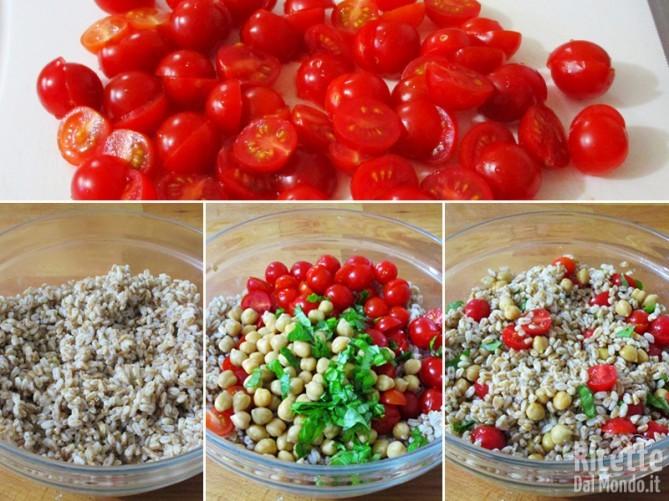 Cuocere il farro, aggiungere i ceci e i pomodorini