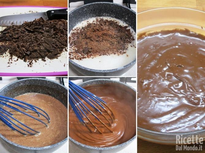 Aggiungere il cioccolato e cuocere la crema