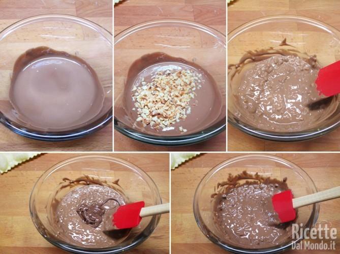 Preparare il cioccolato nocciolato