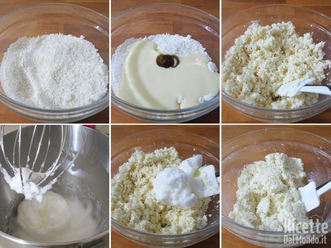 Lavorare farina di cocco, latte condensato e albumi