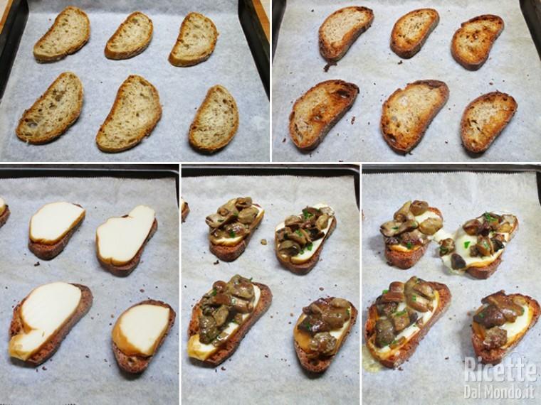 Tostare il pane e facire con provola e funghi