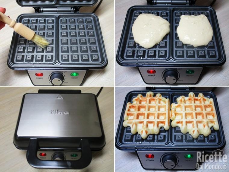 Cuocere i waffle con la piastra