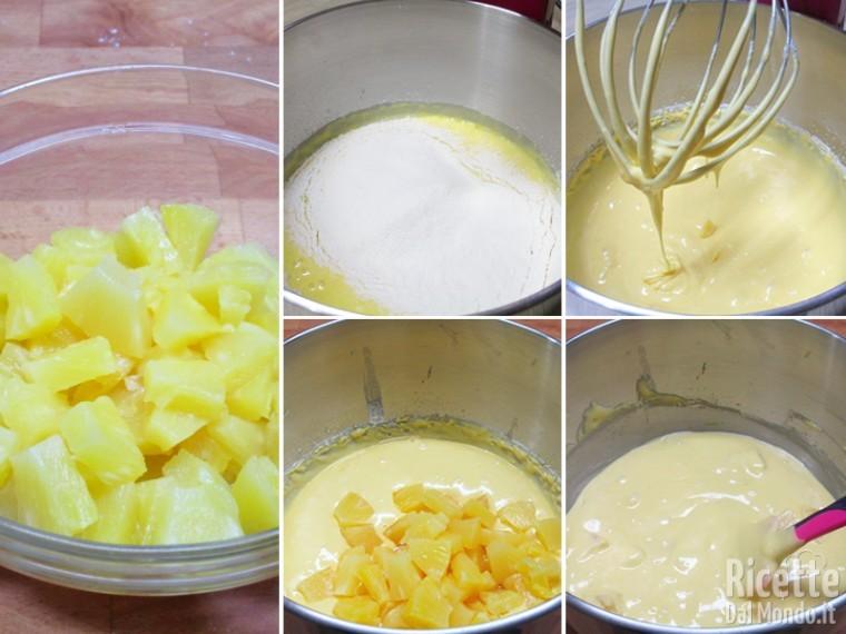 Aggiungere farina e ananas