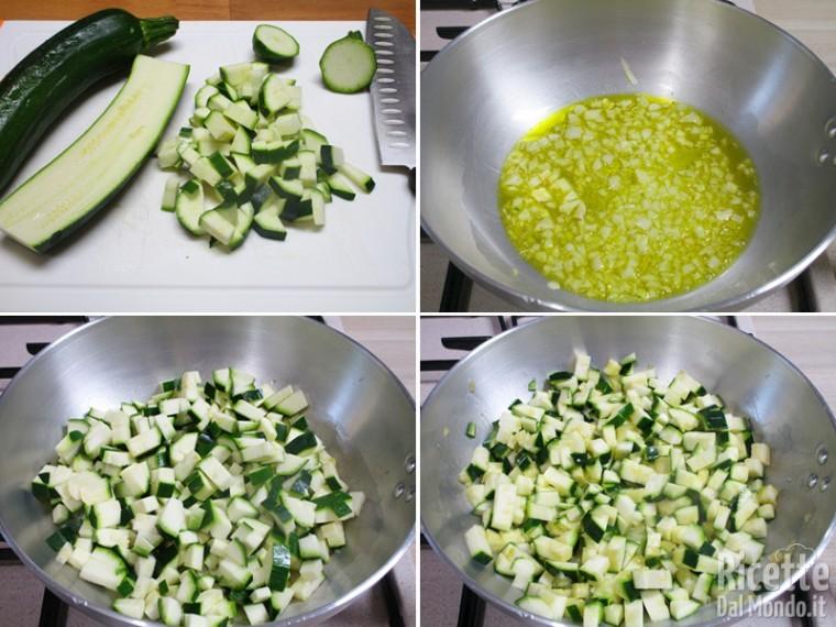 Tagliare le zucchine a cubetti e cuocerle
