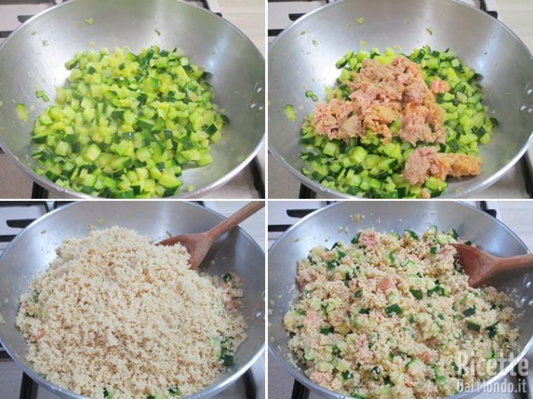 Unire il cous cous e il tonno alle zucchine