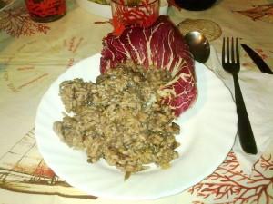 Ricetta Risotto tostato al Radicchio e Salsiccia