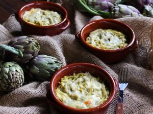 Ricetta Tegamini di tagliolini con crema di carciofi