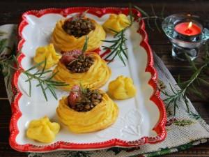 Ricetta Cestini di patate con lenticchie e cotechino
